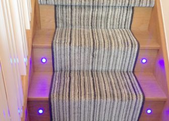 Striped stair carpet Bristol with stitched edge