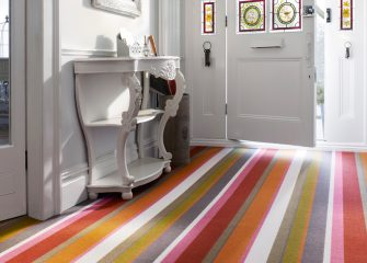 Stripy hallway carpet